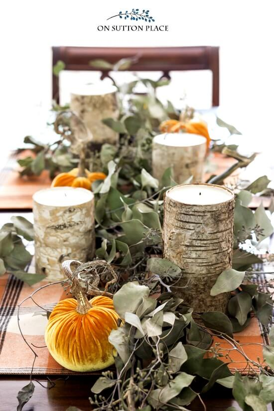 Seeded Eucalyptus Garland | Best DIY Fall Centerpiece Ideas | FarmFoodFamily.com