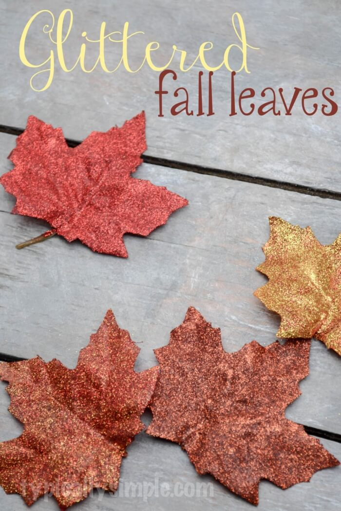 Glittered fall leaves DIY | DIY Fall-Inspired Home Decorations With Leaves - FarmFoodFamily