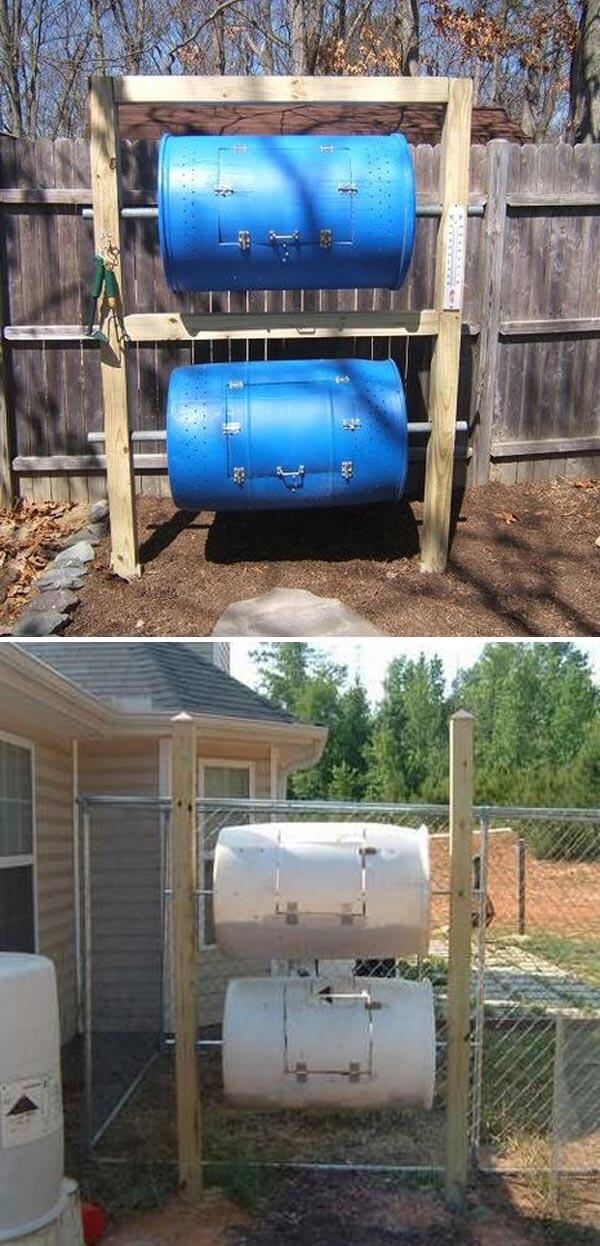 Double-Decker Drum Composter | Easy Compost Bins You Can DIY On Very Low Budget - FarmFoodFamily.com