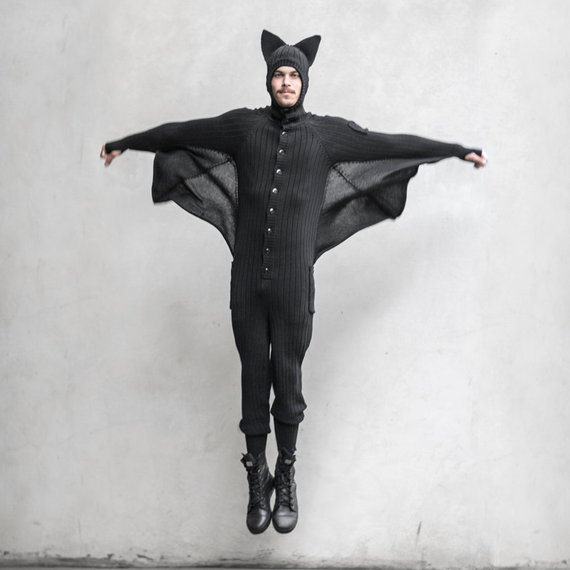 BAT ONESIE Halloween Costume for Men and Women | Animal Halloween Costumes for Kids, Adults - FarmFoodFamily.com