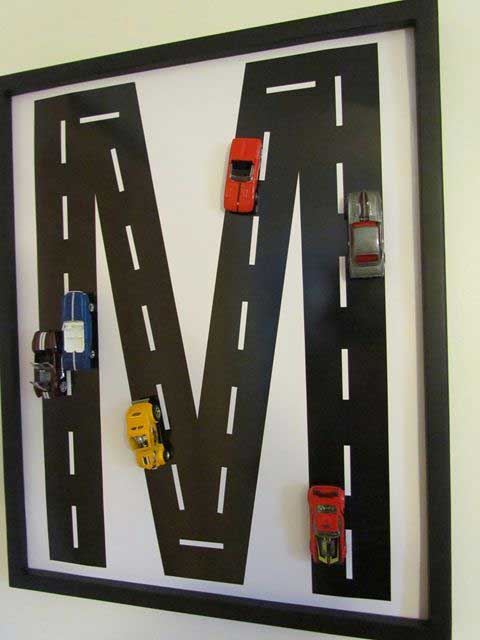 Race car wall art | DIY Race Car Tracks for Kids - FarmFoodFamily