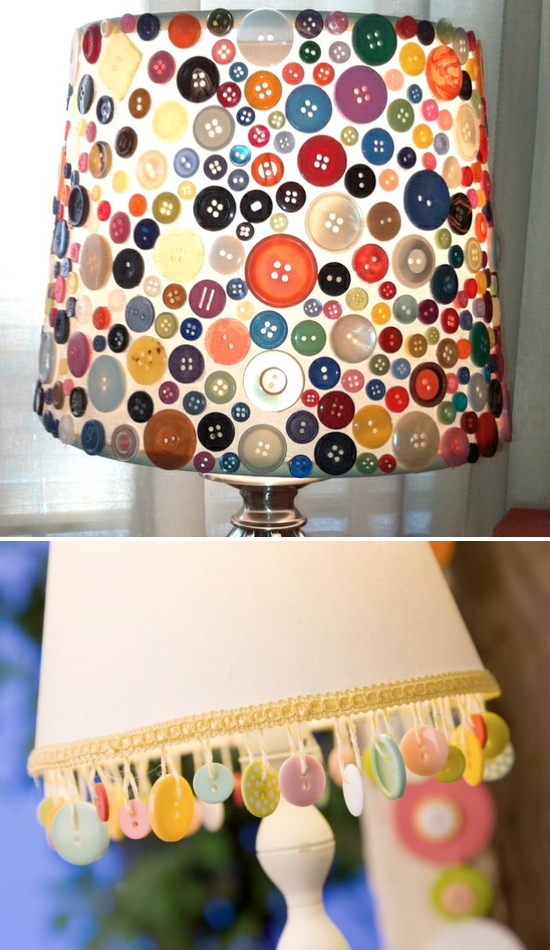 Buttons | Homemade Decorative Lamp Shade Ideas | FarmFoodFamily