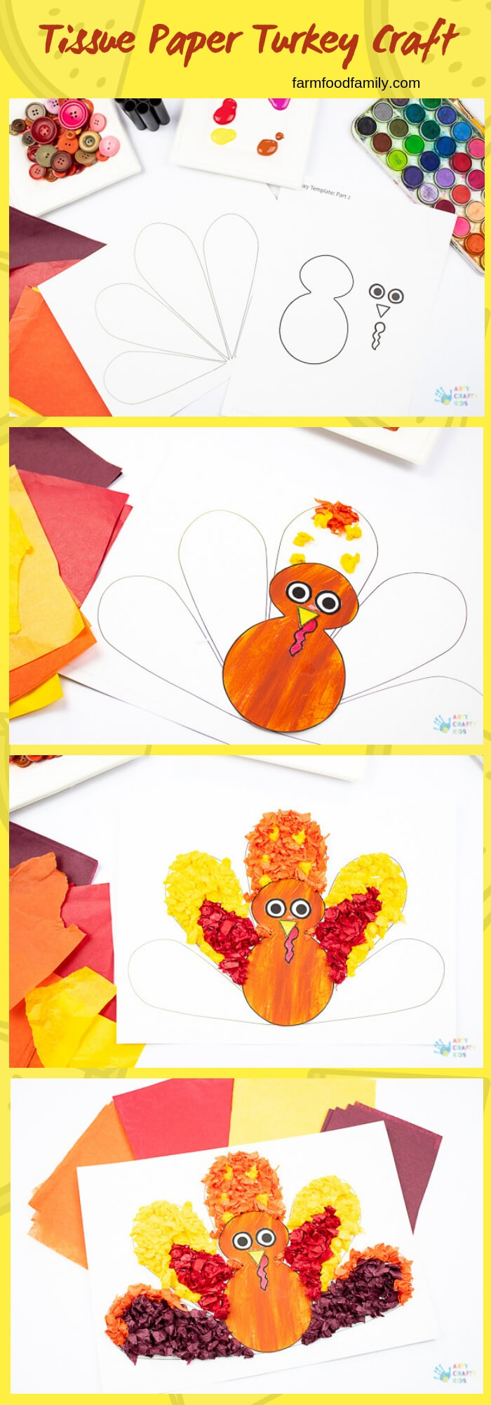 Tissue Paper Turkey Craft | Simple Ideas for Kids' Crafts for Thanksgiving - FarmFoodFamily.com