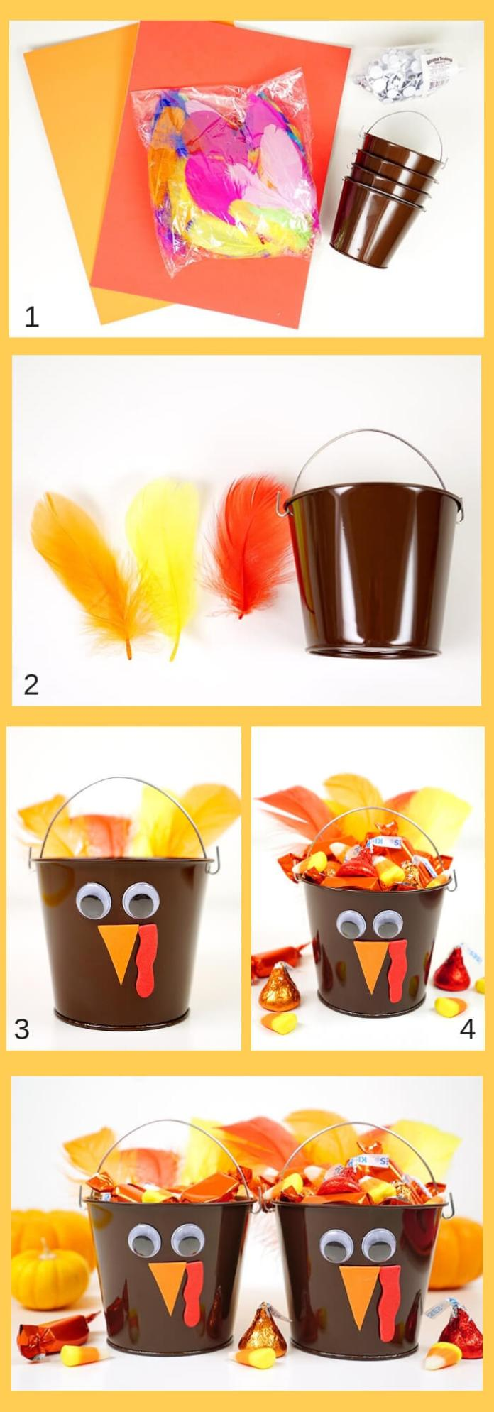 Turkey Treat Buckets | Simple Ideas for Kids' Crafts for Thanksgiving - FarmFoodFamily.com