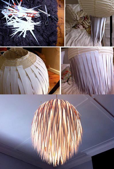 Lamp-paper strips | Homemade Decorative Lamp Shade Ideas | FarmFoodFamily