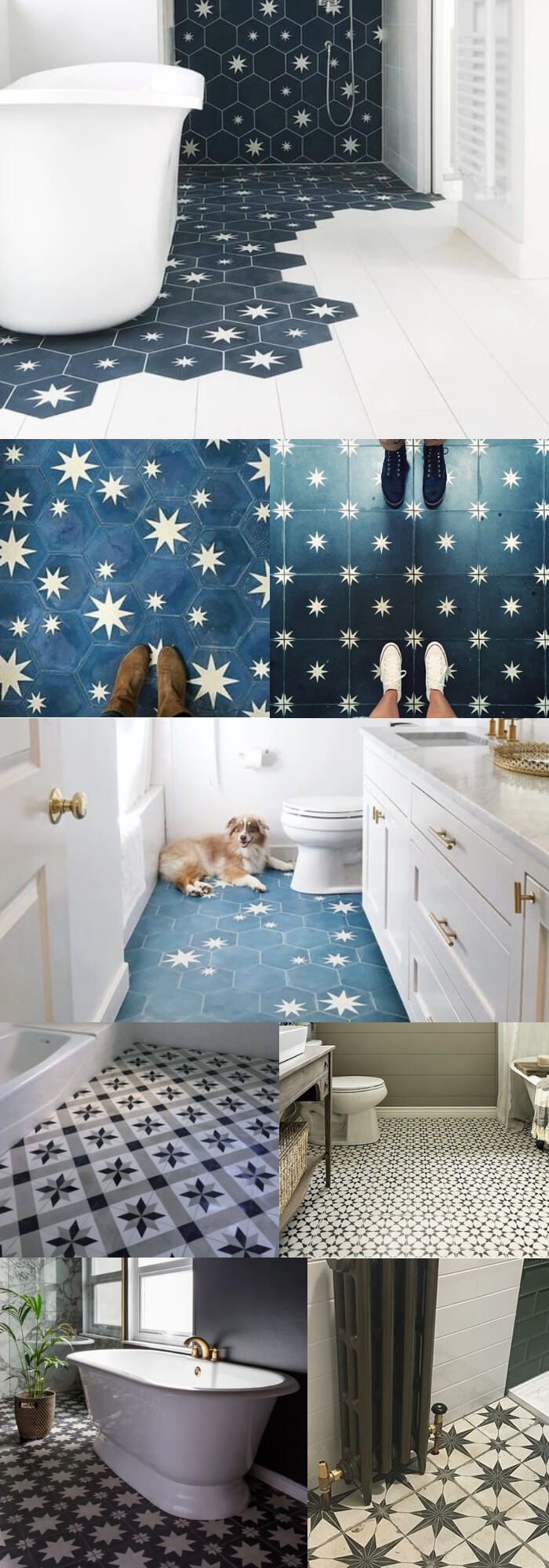 Stars bathroom floor tile ideas