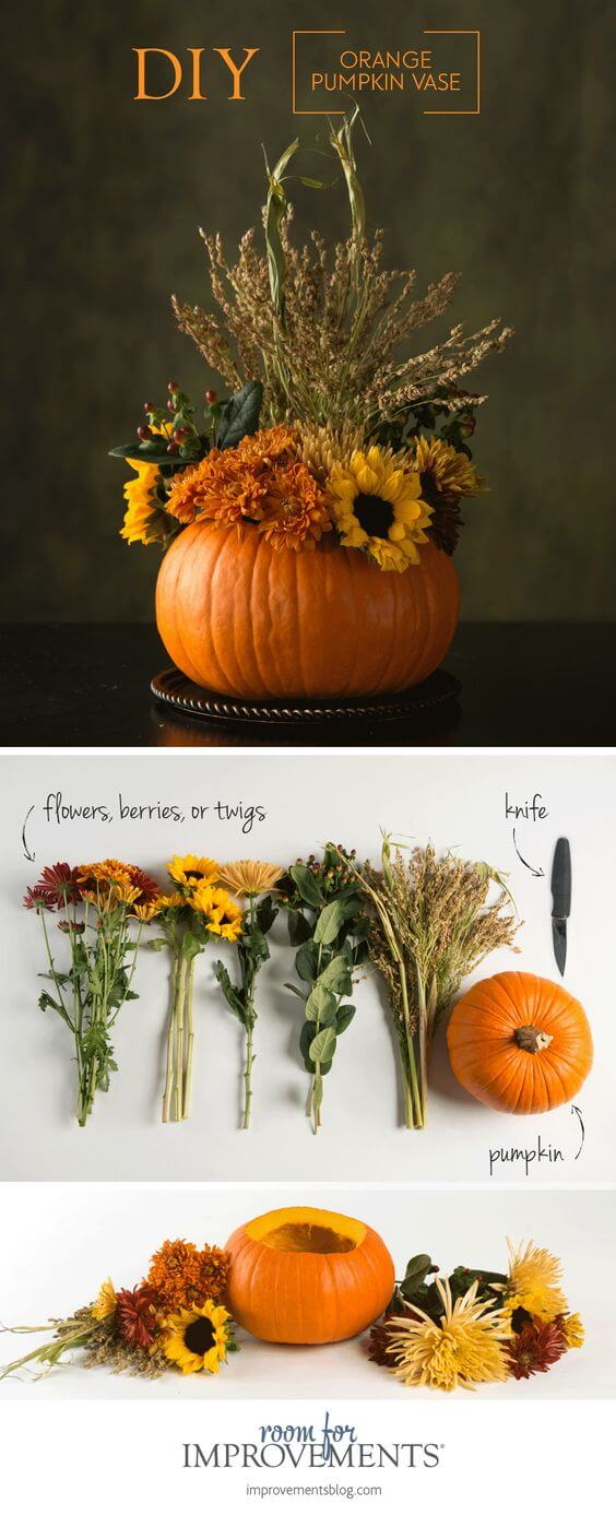 DIY Orange Pumpkin Vase | Best Thanksgiving Centerpieces