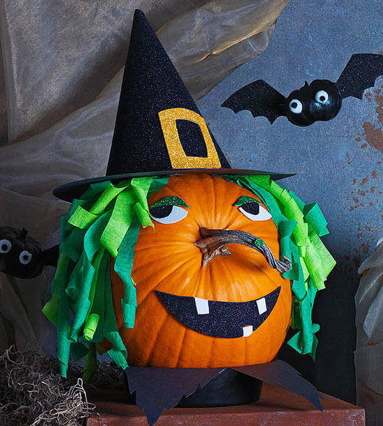 Witch Pumpkin | No-Carve Pumpkin Decorating Ideas For This Halloween
