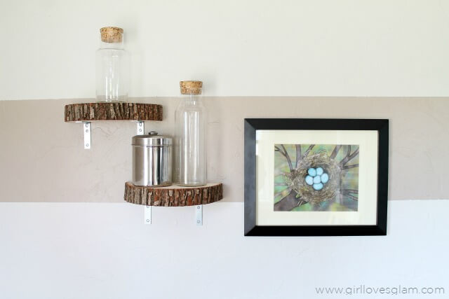 Wood Slide Shelf | DIY Wood Tree Log Decor Ideas - FarmFoodFamily.com