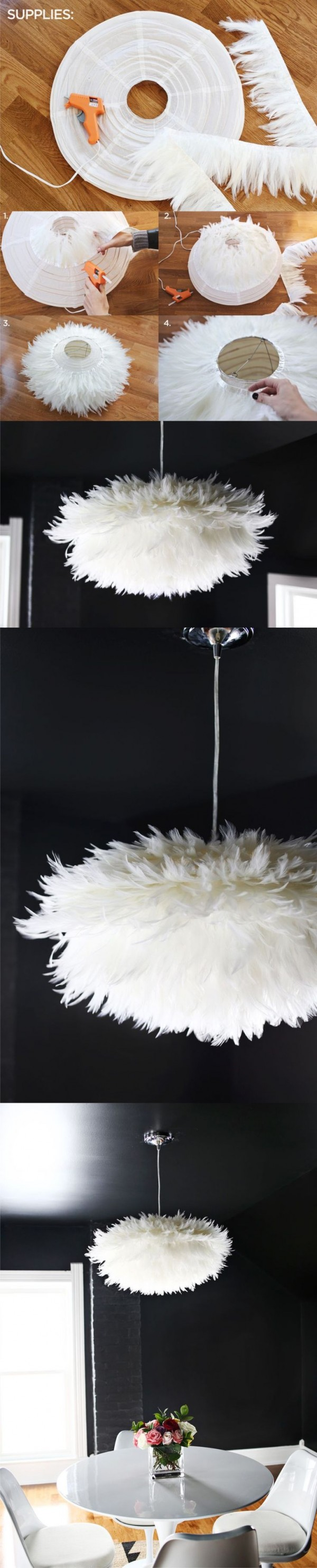 Artificial feathers lamp shades | Homemade Decorative Lamp Shade Ideas | FarmFoodFamily