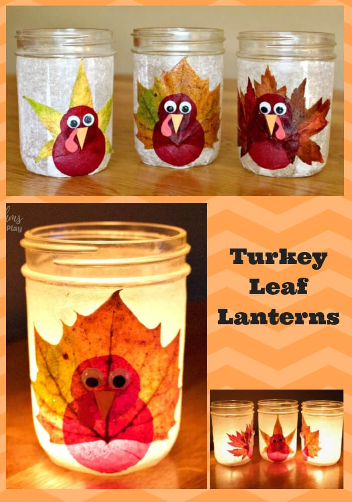 Turkey Leaf Lanterns | Simple Ideas for Kids' Crafts for Thanksgiving - FarmFoodFamily.com