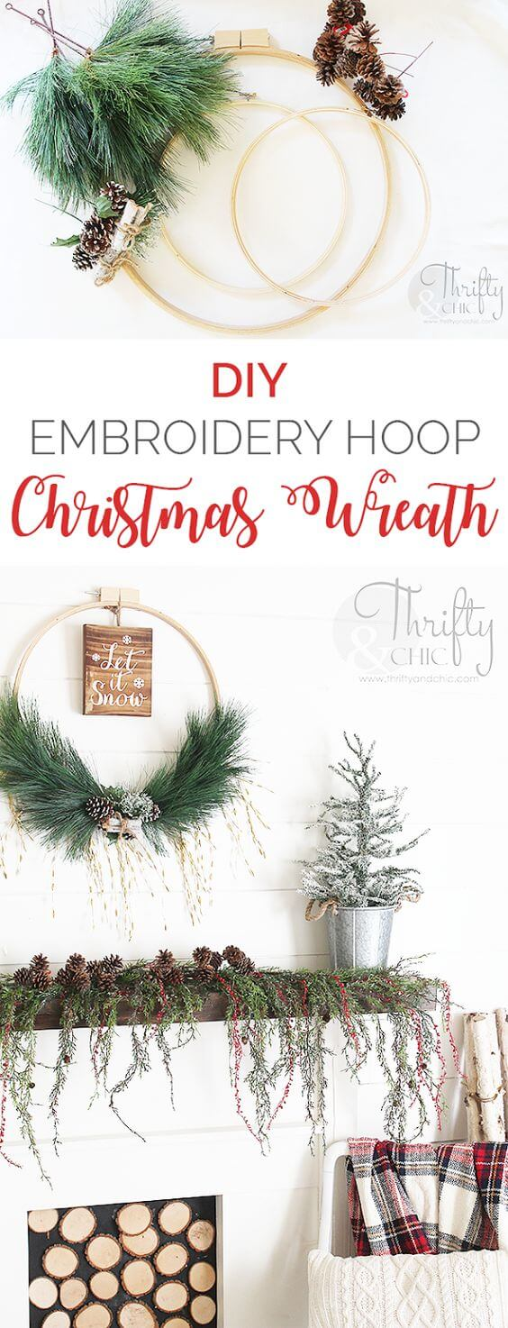 DIY Woodland Christmas Wreath With Embroidery Hoop | Creative, Easy, and Inexpensive Christmas Wreaths | Farmfoodfamily.com