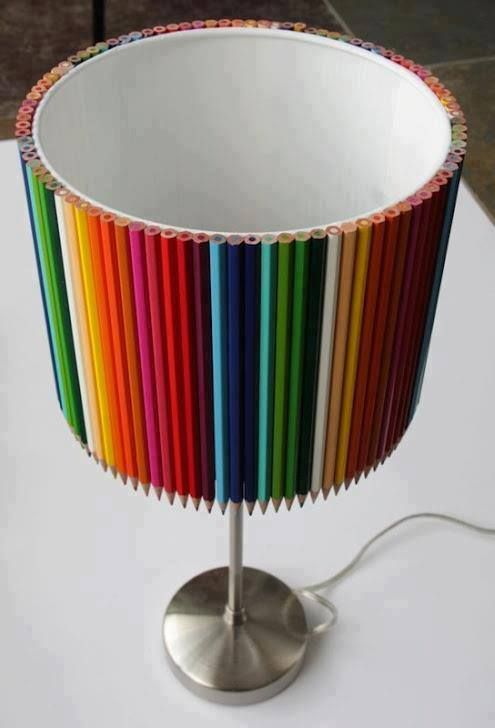 Pencil lamp shades | Homemade Decorative Lamp Shade Ideas | FarmFoodFamily