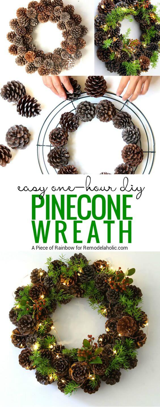 Pinecone Wreath | Creative, Easy, and Inexpensive Christmas Wreaths | Farmfoodfamily.com