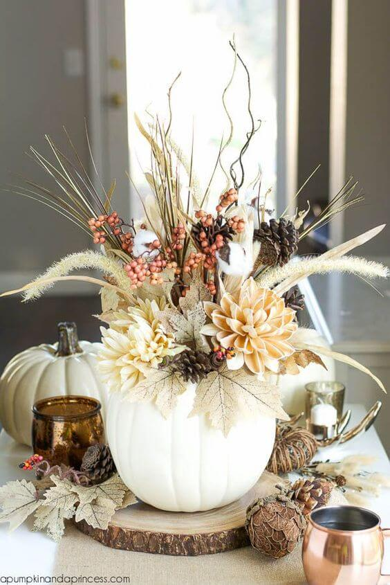 A white faux pumpkin | Best Thanksgiving Centerpieces