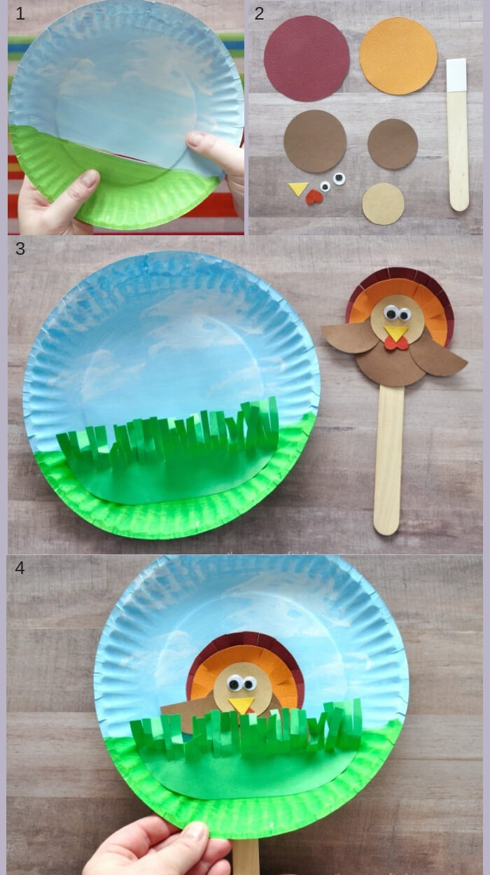 Hiding turkey puppet craft | Simple Ideas for Kids' Crafts for Thanksgiving - FarmFoodFamily.com