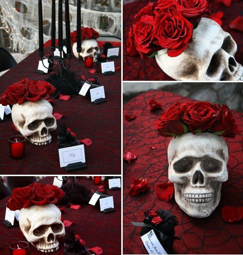Skull centerpiece with cobweb table cloth | Halloween Wedding Theme Ideas - Farmfoodfamily.com