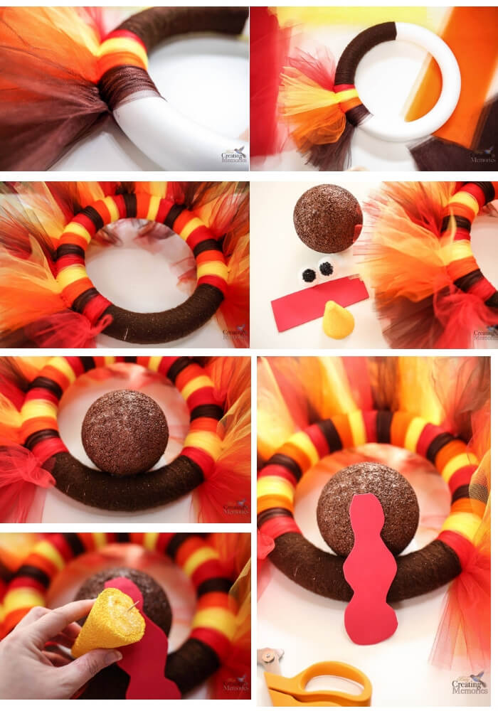 Turkey Tulle Wreath | Simple Ideas for Kids' Crafts for Thanksgiving - FarmFoodFamily.com