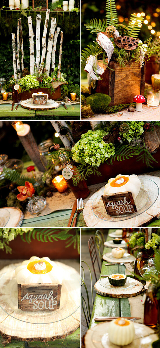 Woodland wedding | DIY Wood Tree Log Decor Ideas - FarmFoodFamily.com