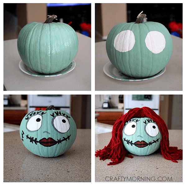 Sally Skellington Pumpkin | No-Carve Pumpkin Decorating Ideas For This Halloween