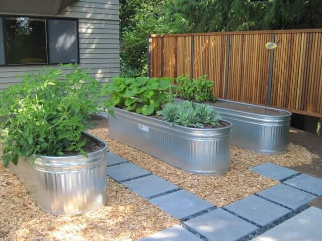 Galvanized tubs | How to Build a Raised Vegetable Garden Bed | 39+ Simple & Cheap Raised Vegetable Garden Bed Ideas - farmfoodfamily.com