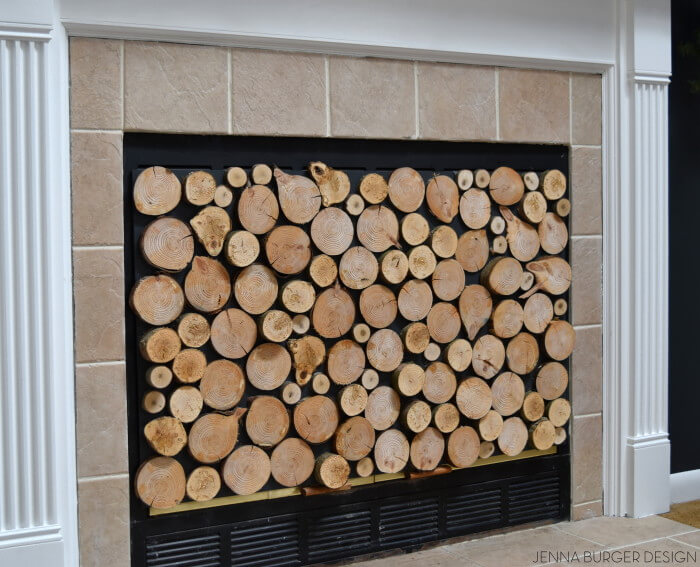 FAUX Stacked Log Fireplace Screen | DIY Wood Tree Log Decor Ideas - FarmFoodFamily.com