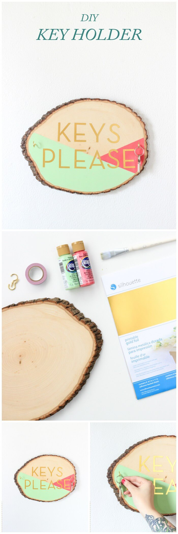 Key holder | DIY Wood Tree Log Decor Ideas - FarmFoodFamily.com