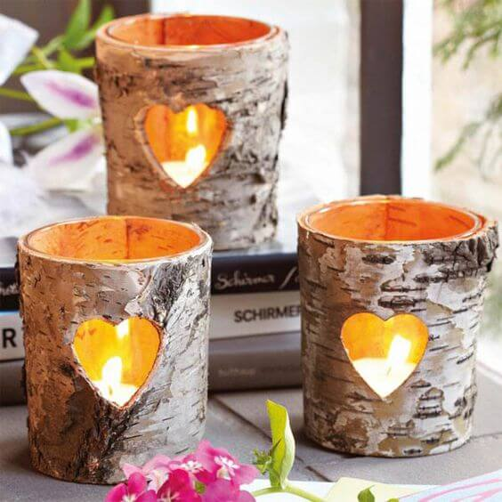 Candle Tree Trunk | DIY Fall Candle Decoration Ideas - Farmfoodfamily.com