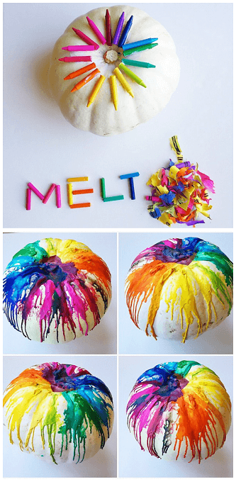 Melt crayons on Pumpkin | No-Carve Pumpkin Decorating Ideas For This Halloween