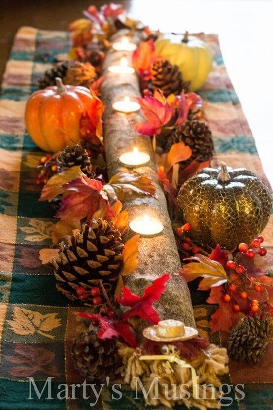 Long candle holder branch | DIY Fall Candle Decoration Ideas - Farmfoodfamily.com