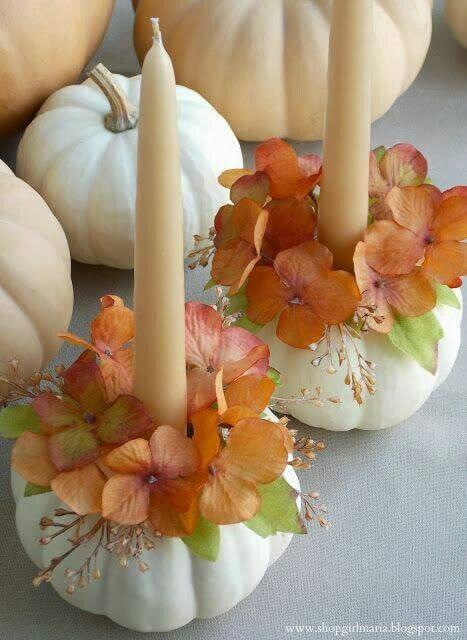 Cute mini pumpkin candle holder | DIY Fall Candle Decoration Ideas - Farmfoodfamily.com