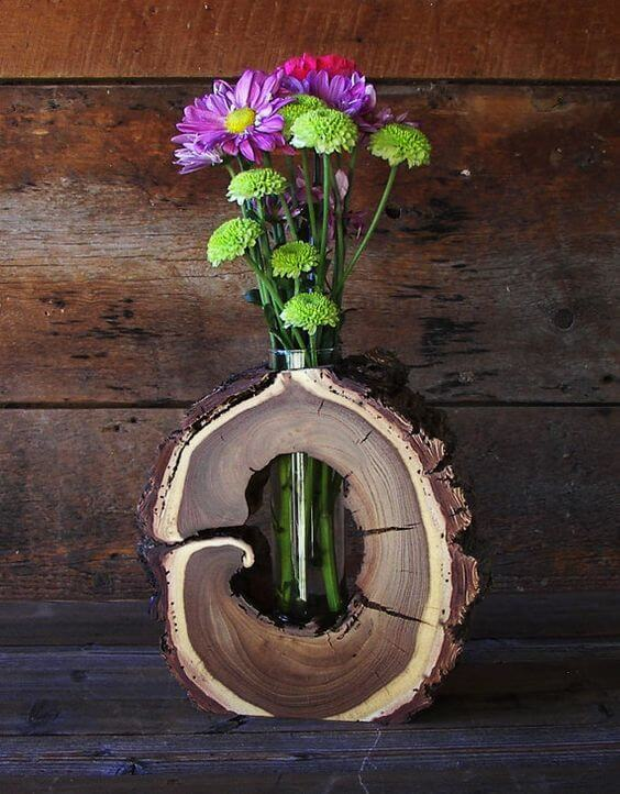 Flower vase | DIY Wood Tree Log Decor Ideas - FarmFoodFamily.com