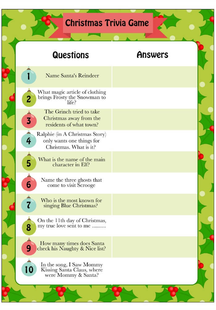 Printable Christmas Trivia | Christmas Party Games for Adults - FarmFoodFamily.com