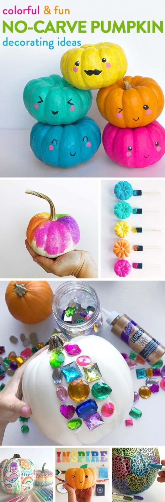 Colorful No-carve Pumpkin | No-Carve Pumpkin Decorating Ideas For This Halloween