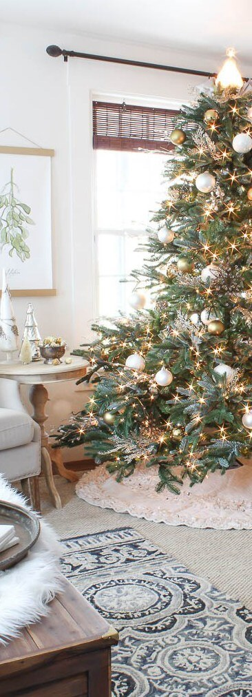 Elegant white and gold matte Christmas Tree   Best Way to Decorate Christmas Trees on a Budget: Inexpensive or Free & Easy Holiday Ornaments & Decorations