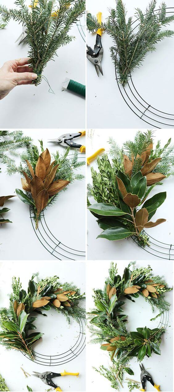 DIY Fresh Magnolia Mixed Branch Wreath | Creative, Easy, and Inexpensive Christmas Wreaths | Farmfoodfamily.com