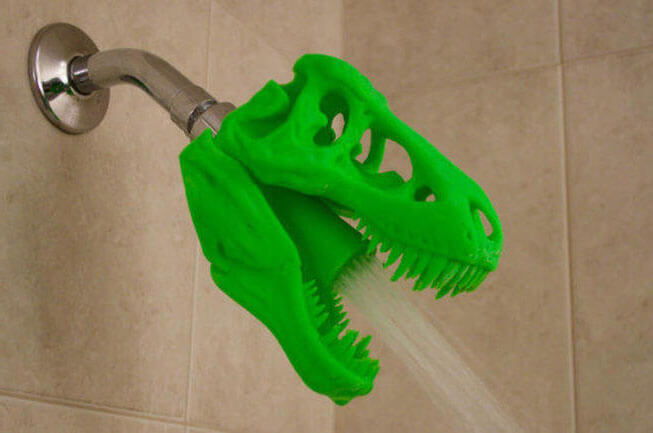 3D Printed T-REX Skull Shower Head | Kids Bathroom Décor Tips: Decorating Ideas for a Child's Bathroom