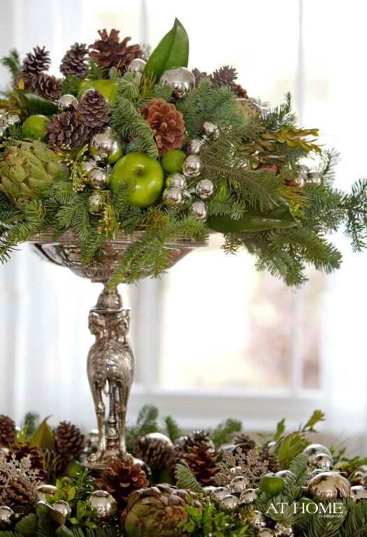 Christmas Table Centerpieces by Pine Cones | Best Elegant Christmas Centerpieces & Designs | Farmfoodfamily.com
