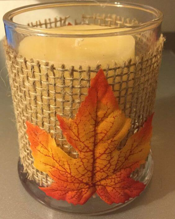 Maple leaf burlap candle holder | DIY Fall Candle Decoration Ideas - Farmfoodfamily.com