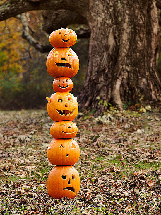 Stack-o'-Lantern | No-Carve Pumpkin Decorating Ideas For This Halloween
