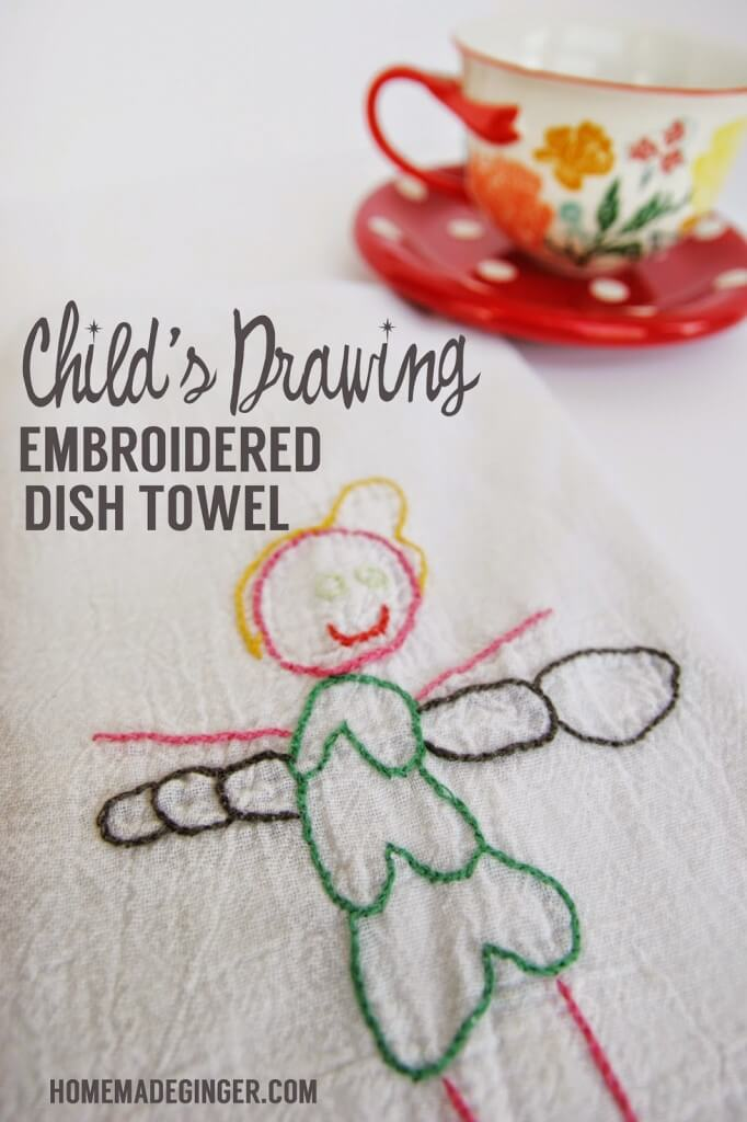 Child's Drawing Embroidery Dish Towel | Christmas Gifts for Grandparents: Creative Holiday Ideas for Grandma and Grandpa
