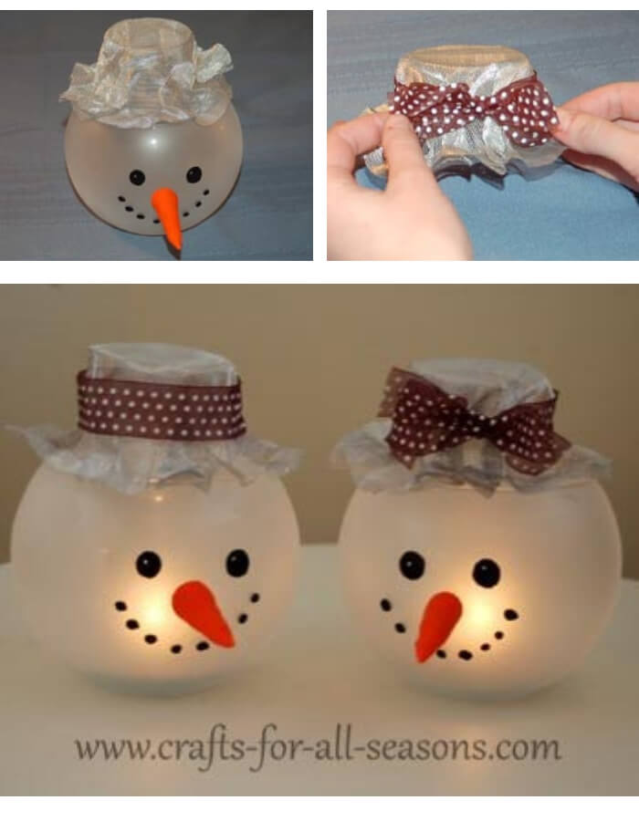 Snowman Candle Holder   Cute and Easy Christmas Ornament Ideas