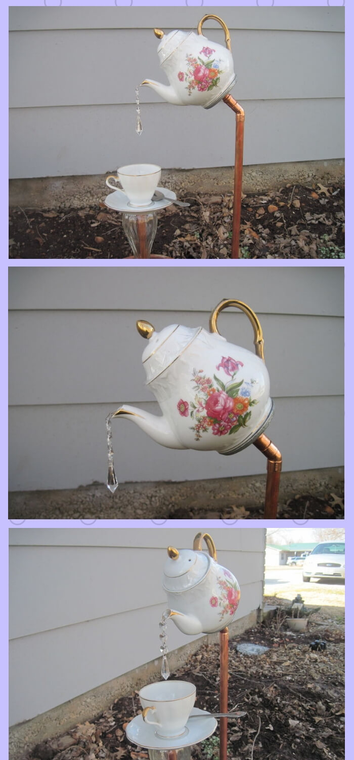 English Tea Pot, Tea Cup and Saucer Garden Stakes