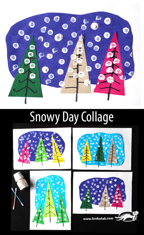 Snowy Day Collage | Christmas Craft Ideas for Preschoolers