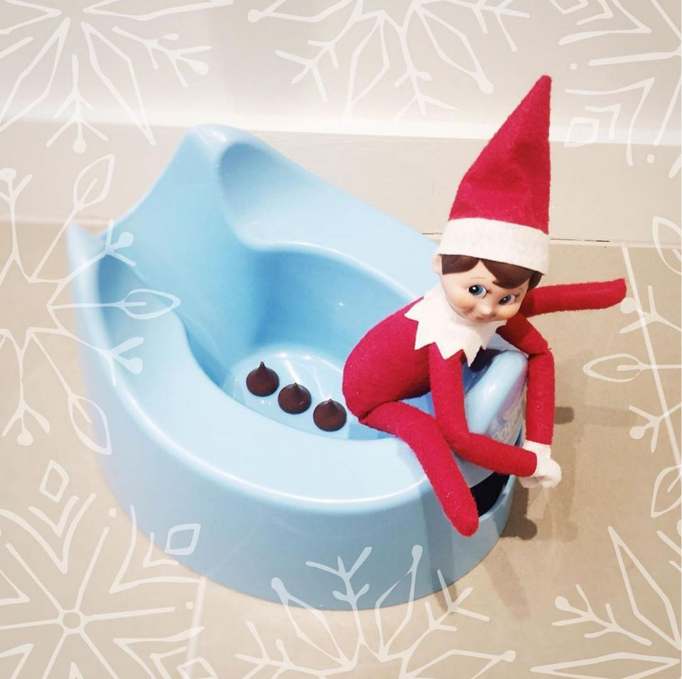 Elf going Potty | Fun & Simple Elf on Shelf Ideas For This Christmas