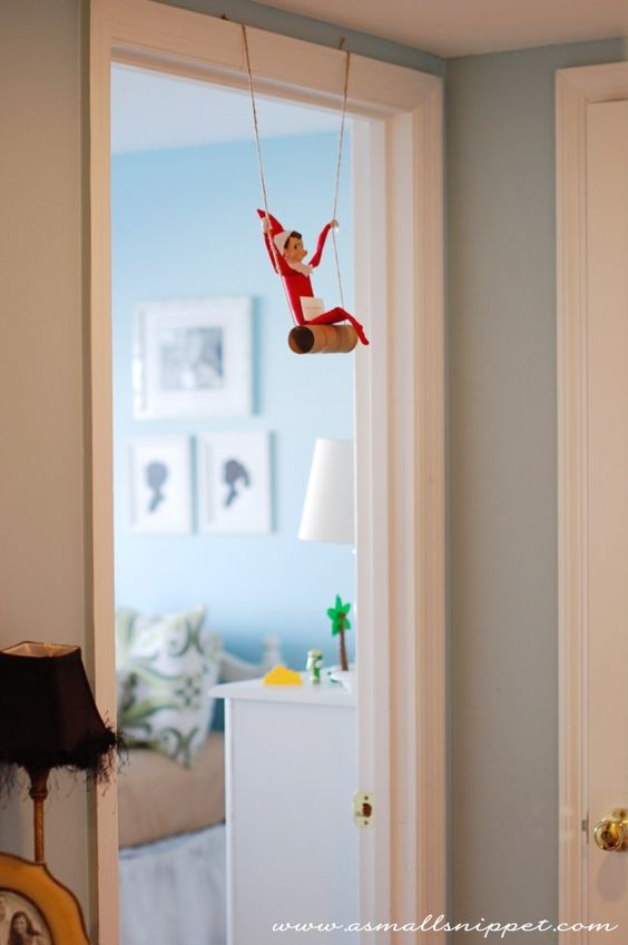 Swinging Elf | Fun & Simple Elf on Shelf Ideas For This Christmas