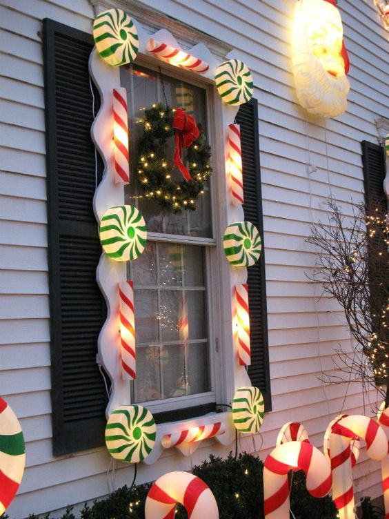 Candyland | Christmas Door and Window Lighting Decorating Ideas