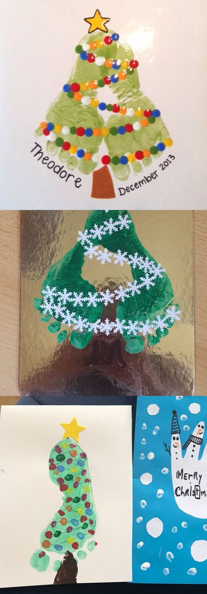 Christmas Tree Footprint Plate | Easy, Inexpensive, and Creative Christmas Crafts for Kids