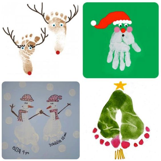 Christmas Handprint/footprint ideas | Easy, Inexpensive, and Creative Christmas Crafts for Kids