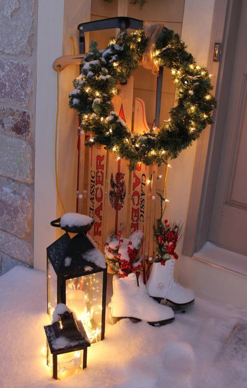 Christmas Porch Decorating Ideas | Christmas Door and Window Lighting Decorating Ideas